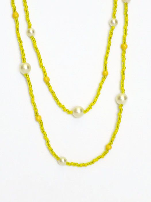 Double Wrap Necklace / Yellow Necklace / Seed Bead Necklace / Long Layered Necklace / Yellow Necklace for Women / Yellow Fashion Necklace