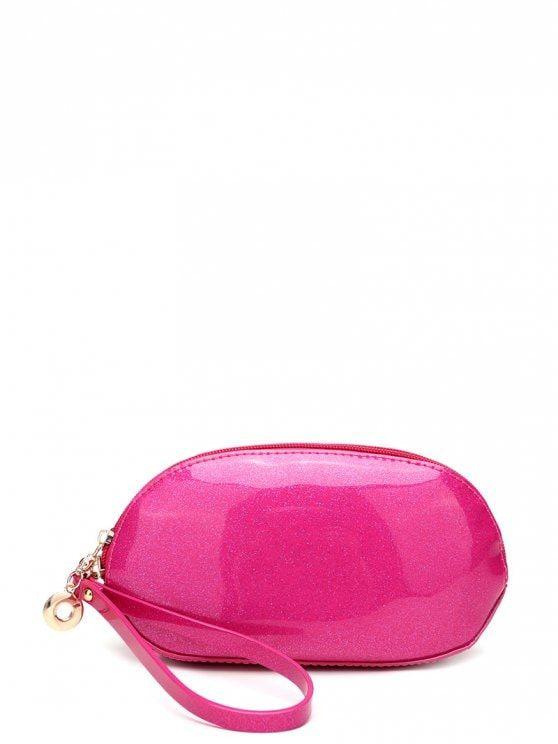 Glitter Zip Around Patent Leather Wristlet - ROSE RED