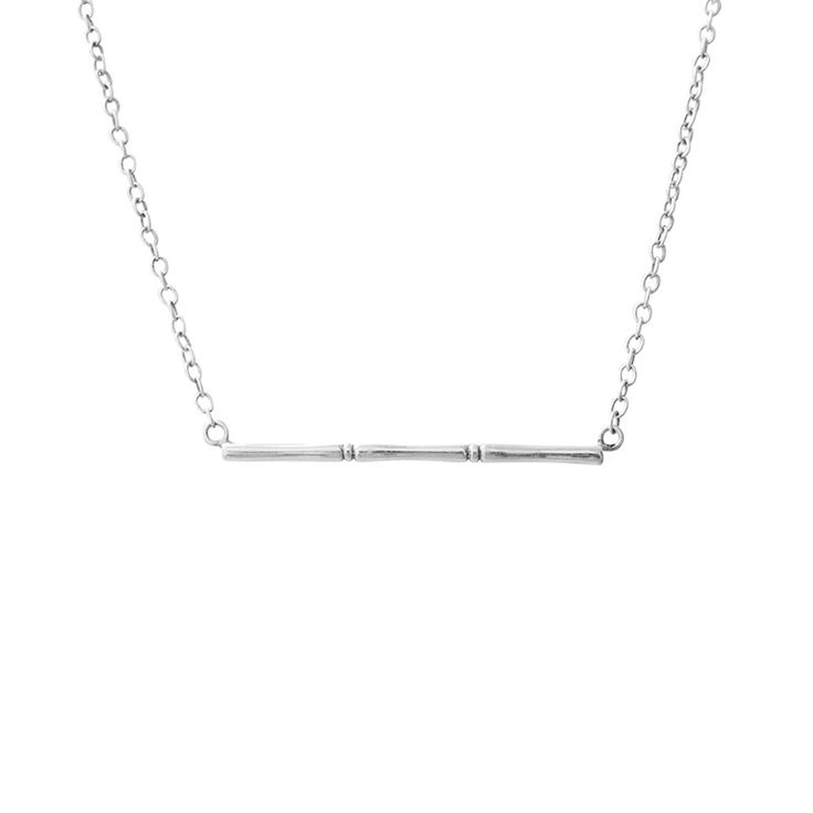 Bamboo Necklace in Sterling Silver. Simple and Elegant. Shop this look at www.murkani.com.au