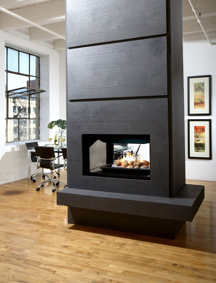 Double Sided Fireplace In The Gray Bulkhead On The Brown Laminated Wooden  Flooring, Various Built