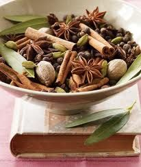1/2 cup of each:    whole cloves    whole allspice    whole coriander    broken cinnamon sticks    dried orange peels    dried lemon peels    Mix well. Add 1 T to a pot of water and add on the top of your woodburner.