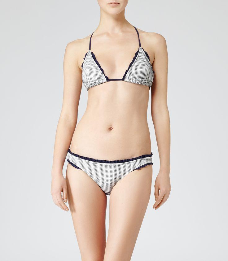 Womens Navy/white Dot And Frill Bikini Top - Reiss Pepita T