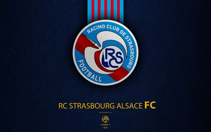 Download wallpapers RC Strasbourg Alsace FC, 4K, French football club, Ligue 1, leather texture, Strasbourg FC logo, emblem, Strasbourg, France, football