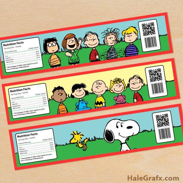 Printable livre Etiquetas da garrafa de água Peanuts