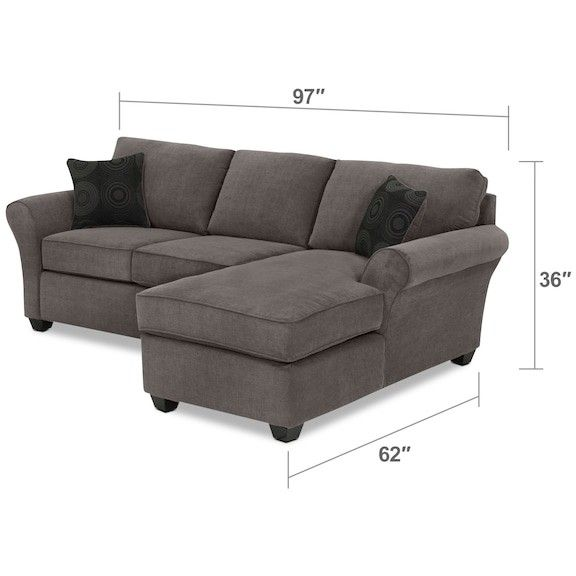 LEONS $1299 Althea 2-Piece Sectional with Right-Facing Chaise - Charcoal