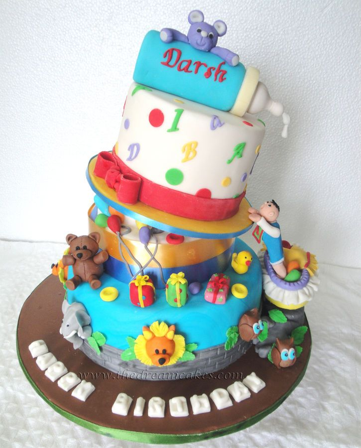 This Cake Was Made For The First Birthday Of A Baby Boy