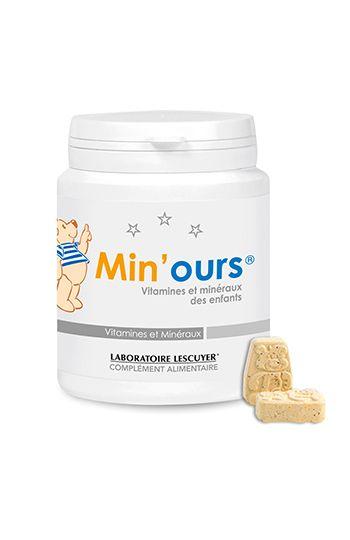 Min'ours - Les #vitamines et #minéraux des enfants de 4 à 10 ans - Contribue à la croissance (vitamine D) et aide à préserver le métabolisme énergétique (vitamine B1) - Complément alimentaire - Prix : 20,80 € TTC