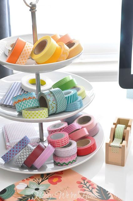 Display your washi tape on a cupcake stand