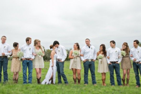 Country Wedding Party? I really want the groomsmen to wear dark blue jeans