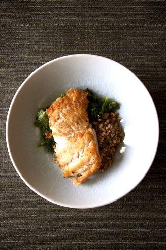 Pan-Seared Pollock Fish with Sauteed Mustard Greens and Bulgur Wheat Salad Recipe