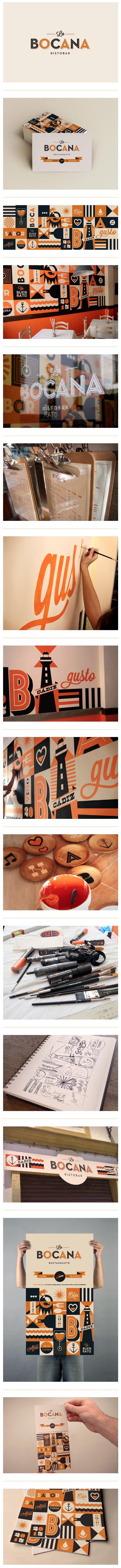 Identidad gráfica desarrollada por el estudio español Raul Gomez para el restaurante La Bocana.