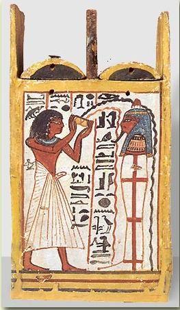 caja de ushebtis de madera pintada de Khonsu, hijo de Sennedjem