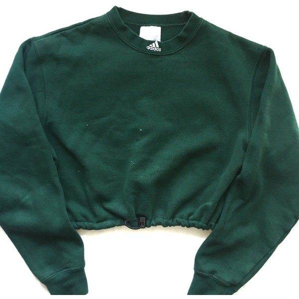 Vintage Reworked Adidas Crop Sweatshirt Green (£37) ❤ liked on Polyvore featuring tops, green crop top, crop top, adidas, vintage tops and green top
