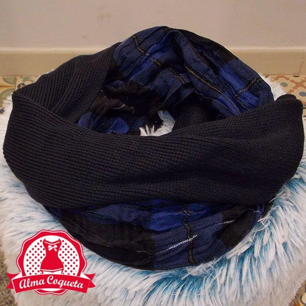 Bufanda cuello con cuadros escoceses en color azul y negro. Muy calentito para este invierno. #cuello #bufanda #fashion #retro  #azul #negro #cuadros #escoces #almacoqueta #leonesp #invierno  #cuero #lazo #lunares