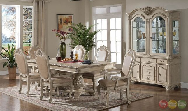 Betty antique traditional light wood formal dining set for Light wood dining room sets
