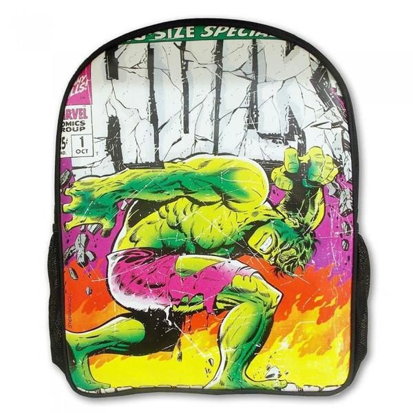 The Hulk Marvel Comics Close Up Collection Backpack features a cool retro Hulk design. It's got an image from a classic Marvel The Incredible Hulk comic book of