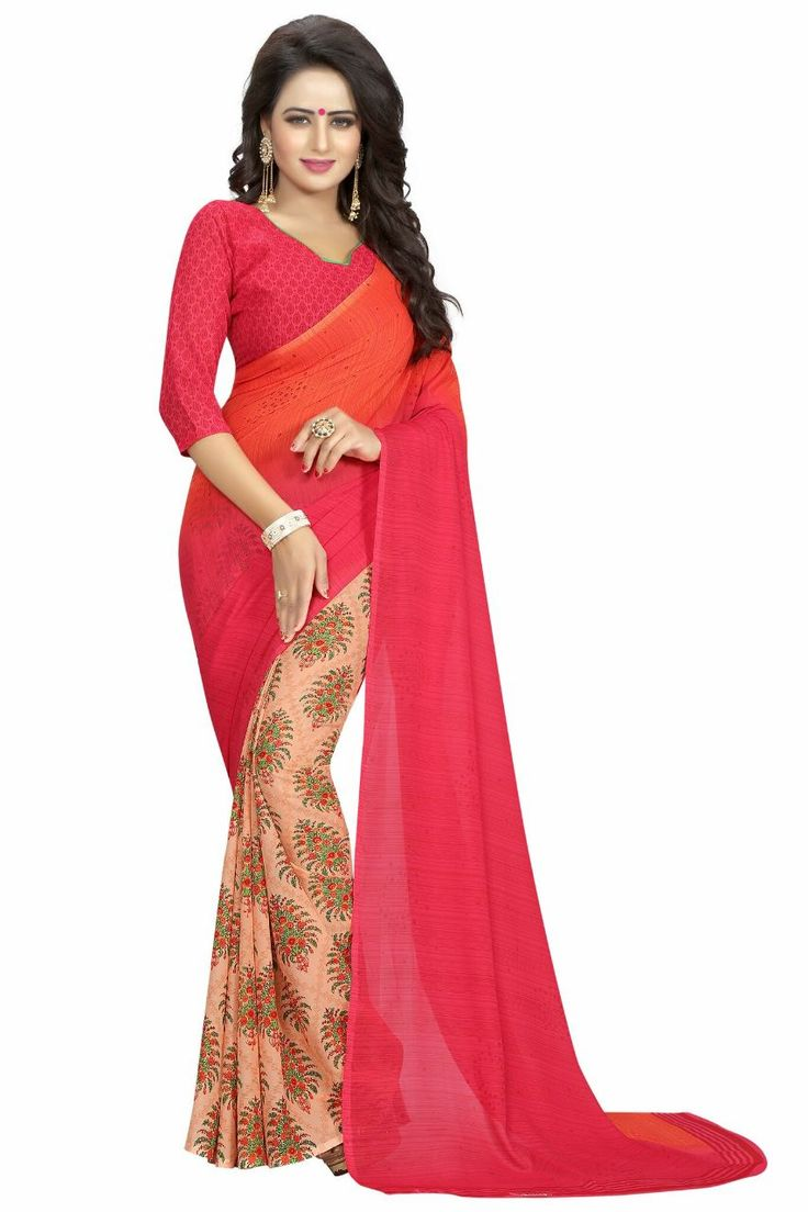 Red Georgette Printed Saree#red#georgette#printed#saree