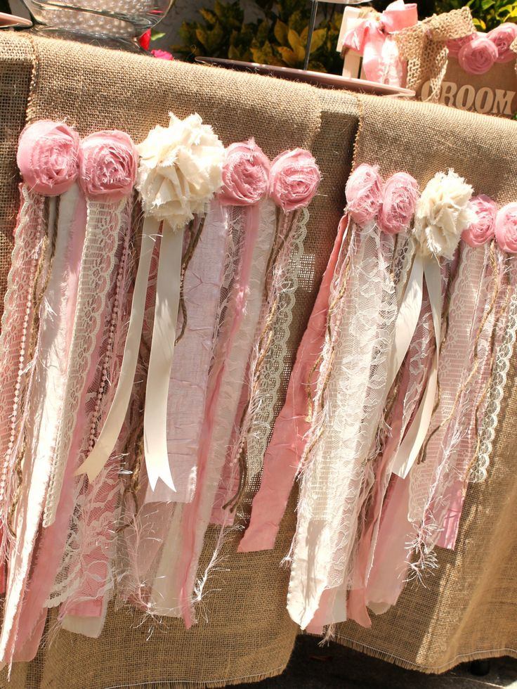 Pink Table Runners//Shabby Chic Table by SeriouslyCindyrella