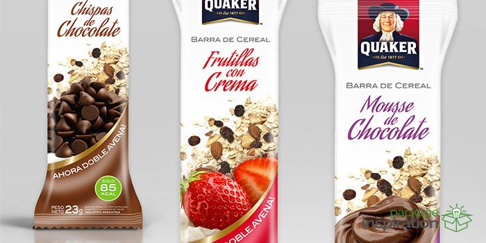 Packaging design for cereal bars in three exquisite flavours: strawberry, chocolate chips and chocolate mousse, with oat.