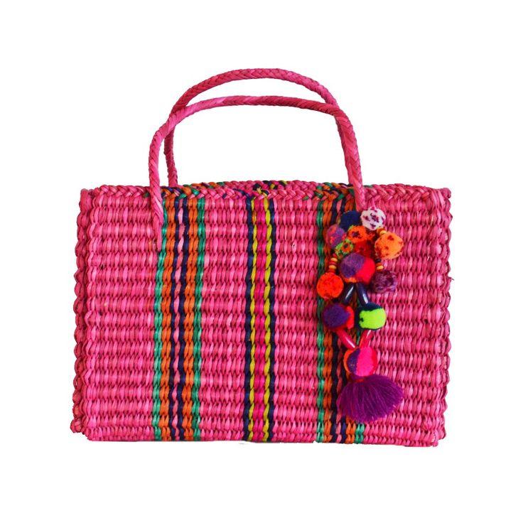 Bolsa de palha pompom multicolor - rosa - shoplixmix: