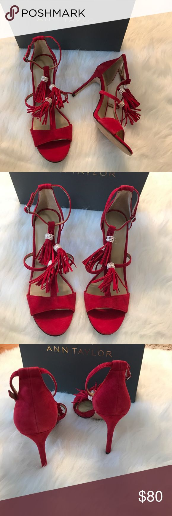 ANN TAYLOR ADINA FRINGE SUEDE PUMP Beautiful and sexy! Take these beauties to work or out to play! The perfect wardrobe staple to complete any outfit! 100% leather/ color: real red adorned with red tassels and beautiful pearls around the tassels. A must have shoe for the Summer! Size: 7.5/ Ann Taylor Shoes Heels