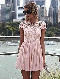 vrouwen wit / groen / roze zomer kant chiffon sexy backless mini-jurk