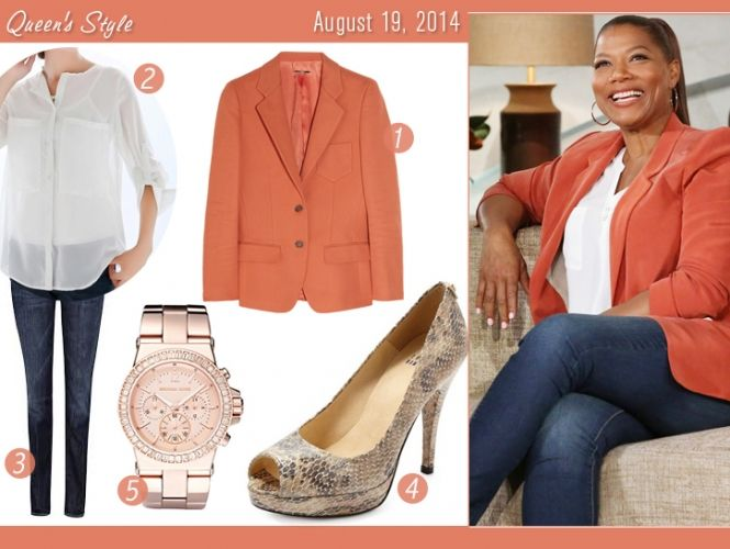 Coral blazer and jeans
