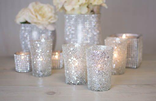 6 in diameter Silver Diamond Mesh Votive Wrap | Bling Bling Wedding