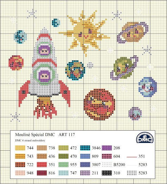 Os hemos preparado este diagrama de punto de cruz inspirado en los planetas. Prueba a bordarlo con las 6 hebras de Mouliné y verás que bonito queda. Puedes usar tela Aida de color crema si quieres para darle un toque de color, aunque como siempre lo dejamos a tu elección.