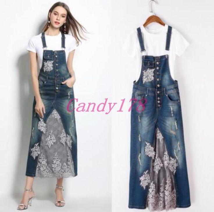 Womens Blue Casual T-Shirts Lace Denim Long Suspender Dress Slim Fit Skirts 2Pcs