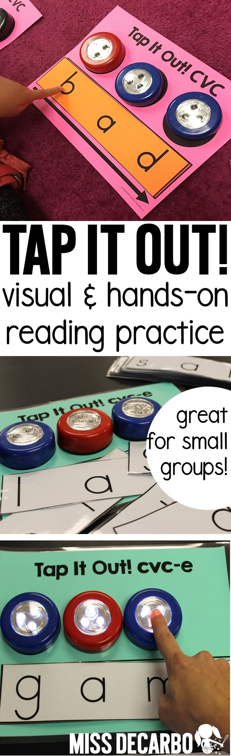 Use tap-on lights and these printable word mats and cards for a fun and hands-on way to practice decoding words! This makes a great intervention activity will help readers decode short vowel words (CVC words).