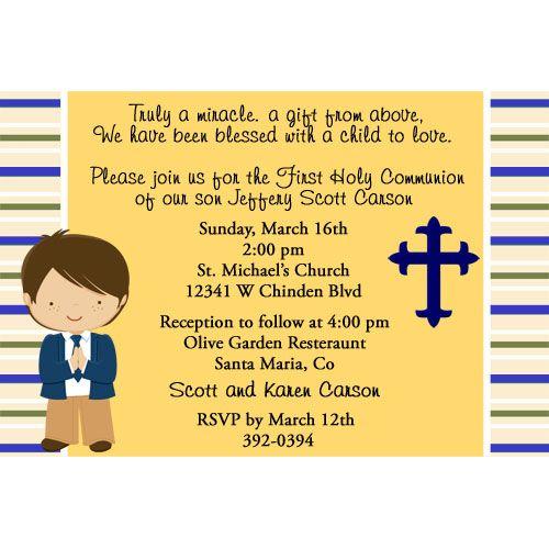 boy communion invitation | Communion Invitation Announcement Boy : Birthday Party Invitations ...