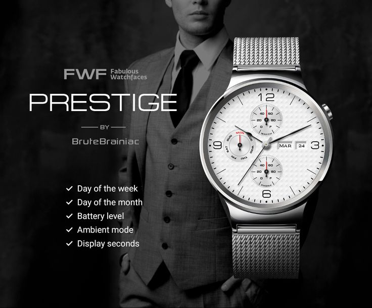 Prestige watch face by BruteBrainiac / #fwf #fabulouswatchfaces #androidwear #moto360 #huaweiwatch #tagheuer #huaweiwatch #smartwatch #watchface