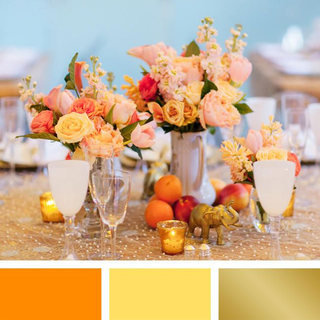 There's no warmer summer wedding color combination than tangerine, daffodil yellow and gold.