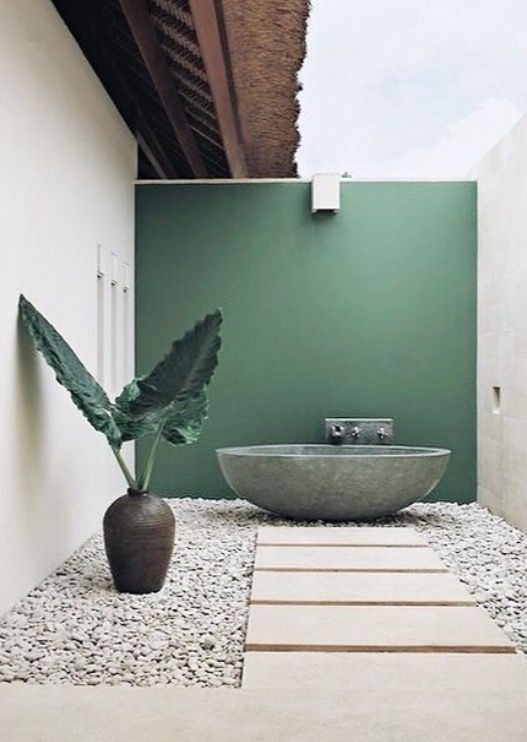 green wall and outside tub