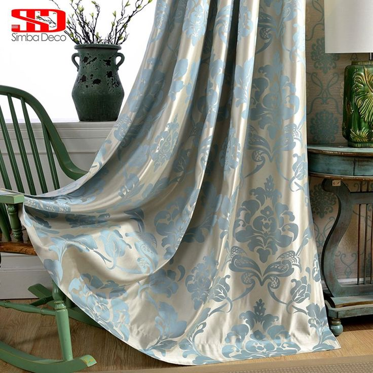 Cheap curtains for, Buy Quality curtains for living room directly from China curtain for living Suppliers:  Damask Blue Fabric Curtains For Living Room Jacquard Blackout Luxury Drapes For Bedroom Custom Blinds Window Shading 70% Panel