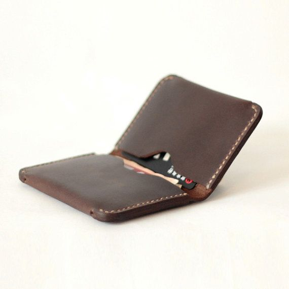 Handmade Men's Leather Slim Wallet - Mens Slim credit card holder slim wallet - handmade men's wallets Dark Brown