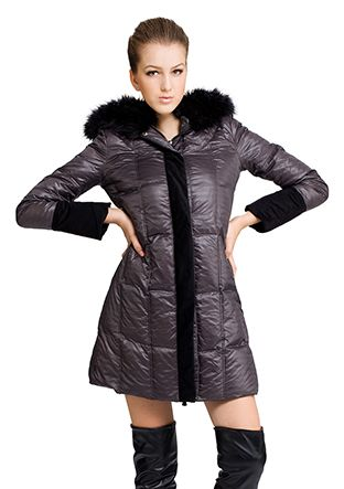 Athena/dark gray surface(90% goose filler)with faux black fox fur collar/middle down coat