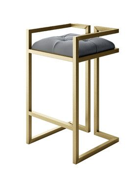Peter Modern Stool With Gold Metal Frame and Gray Velvet, Medium modern-bar-stools-and-counter-stools