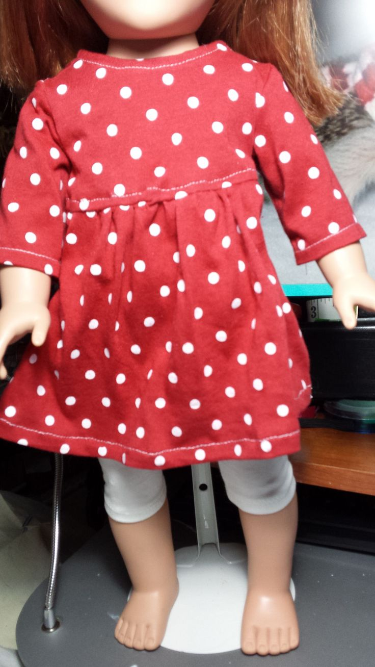 close up of red polka dot baby doll dress - made with pattern from Pixie Faire.