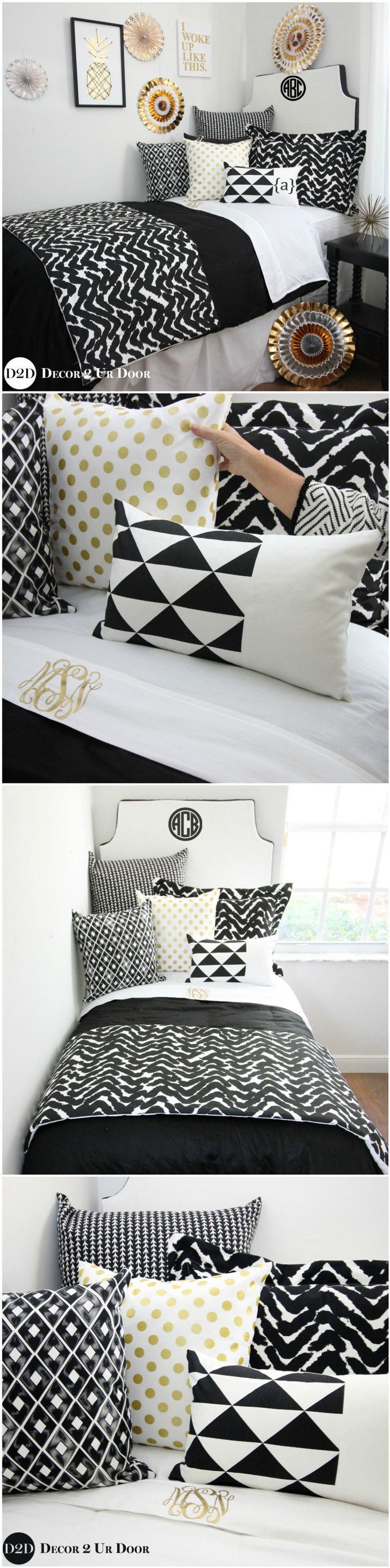 Black, white, and gold dorm room bedding and decor. Bold, black, and beautiful. This black and white (and gold!) dorm bedding set screams minimalist magnificence. These brand new fabrics feature geometric shapes, marker inspired prints, and textured furs. We're going back to basics here. Add a pop of gold in monograms + our gold polka dot pillow for a bit of glitz and glam. This black and white marker dorm bedding will be the absolute rage.