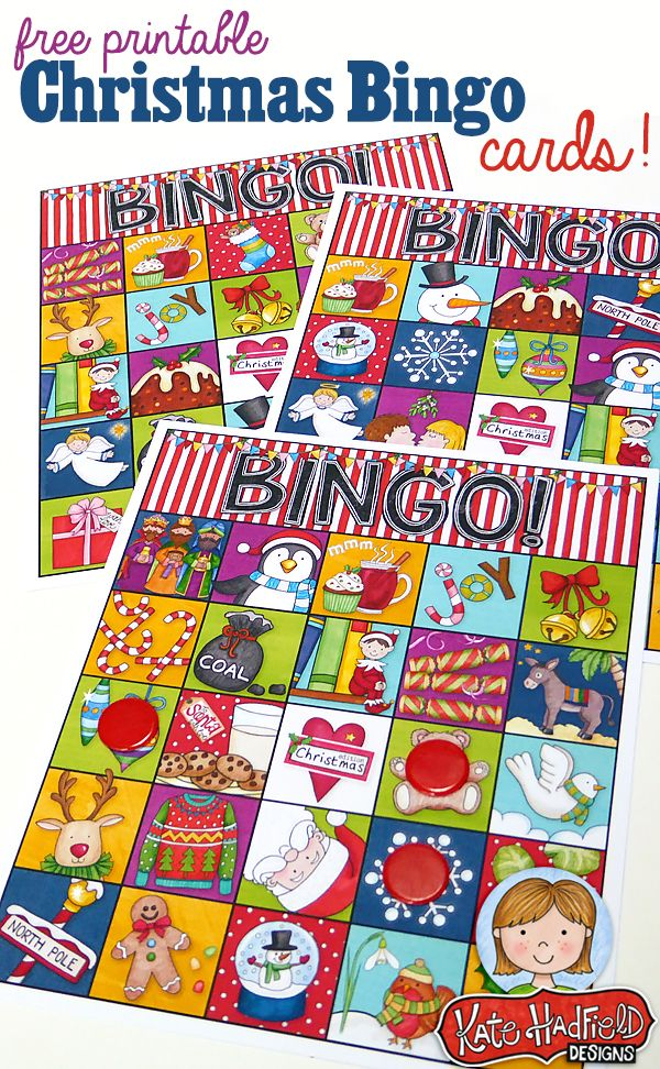 FREE printable Christmas Bingo Cards from Kate Hadfield Designs! Cute bingo cards that will be perfect for keeping the kids entertained this Christmas!