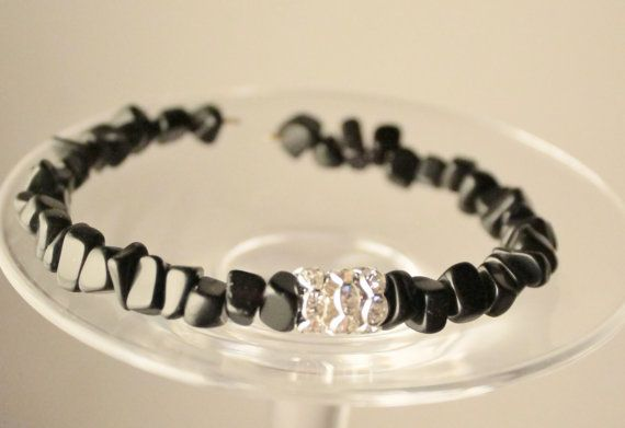 elegant black onyx bracelet by Lisbethstafnedesigns on Etsy