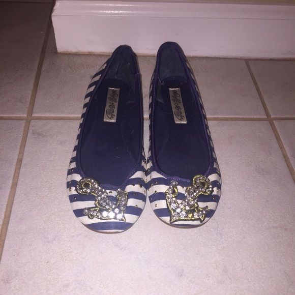 Naughty monkey anchor flats sz 6 Sz 6 naughty monkey stripes navy blue and white flats pre loved signs of wear shown in pic 3 hardly noticable so cute naughty monkey Shoes Flats & Loafers
