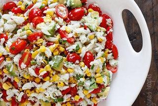 summer tomatoes, corn, crab and avacado salad