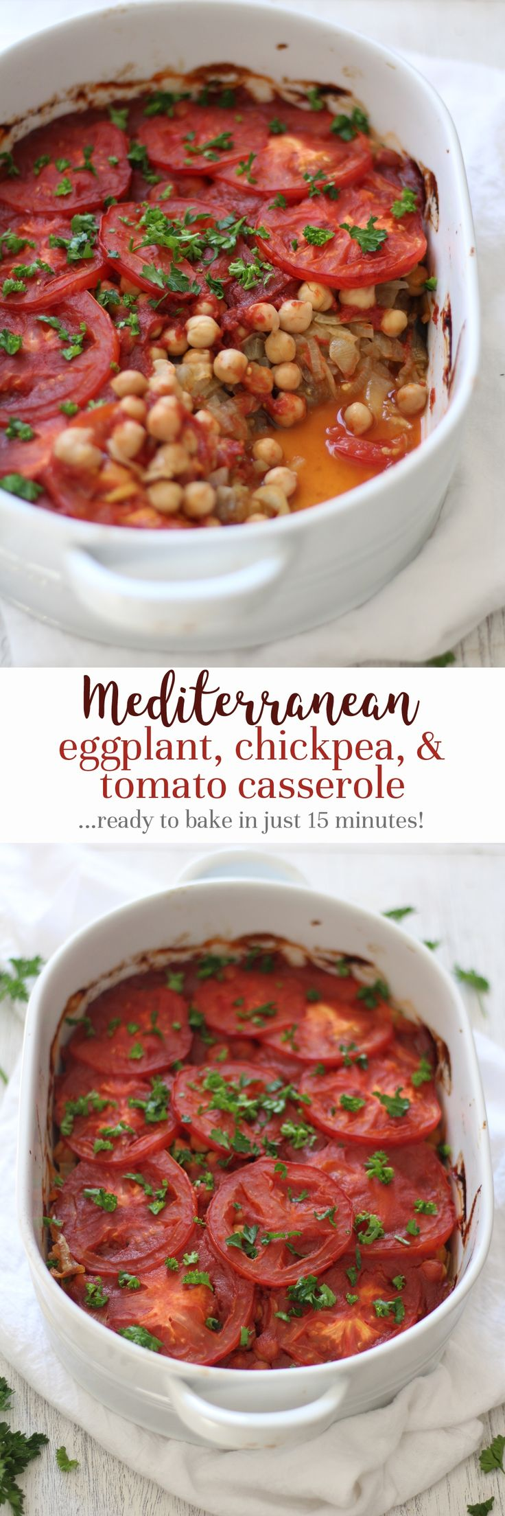 A comforting and healthy Mediterranean casserole with layers of eggplant, caramelized onions, chickpeas, and tomatoes - and simple to prepare!