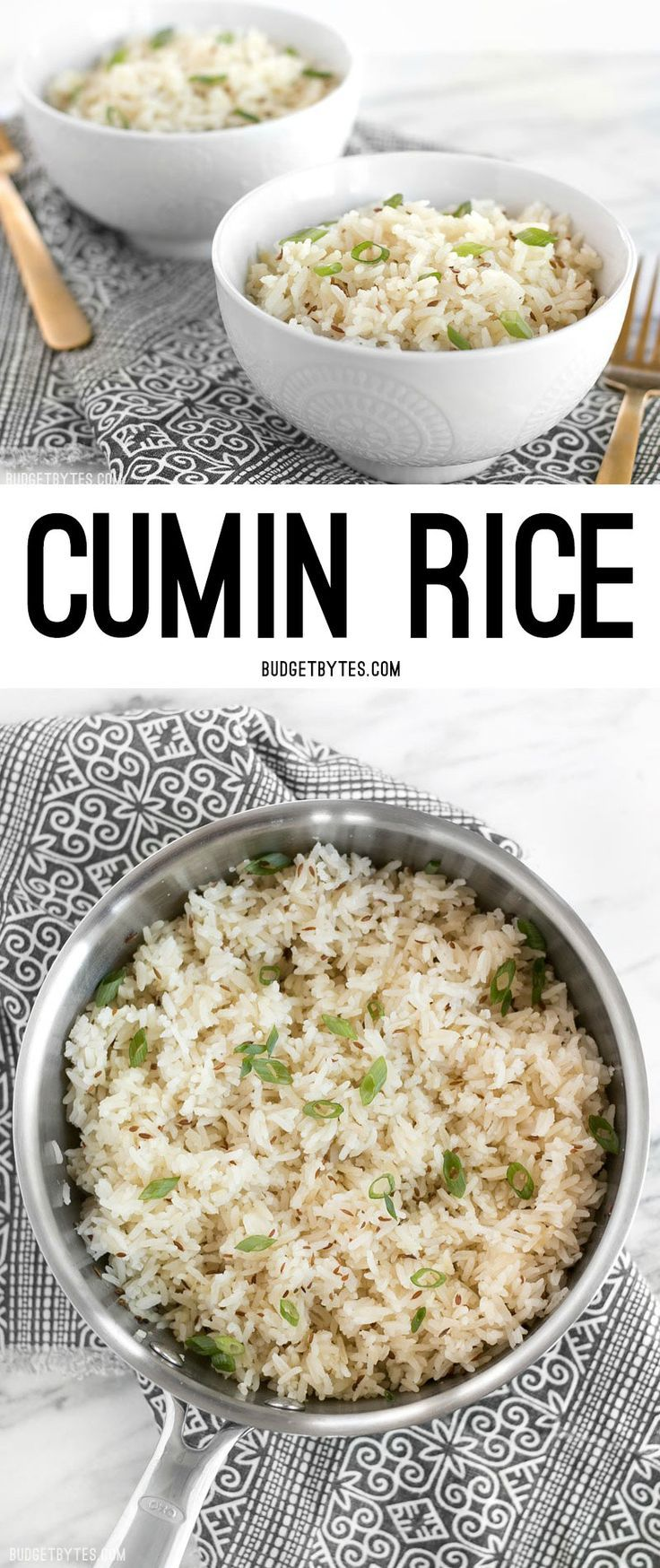 Cumin rice is an earthy and slightly peppery dish that can be used as the base for many meals. @budgetbytes