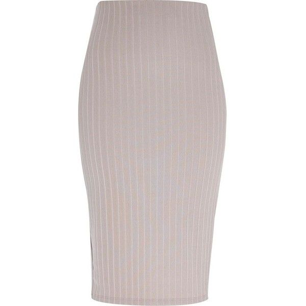 River Island Silver ribbed pencil skirt (94 RON) ❤ liked on Polyvore featuring skirts, pencil skirt, river island, sale, silver, women, tall skirts, silver pencil skirt and knee length pencil skirt