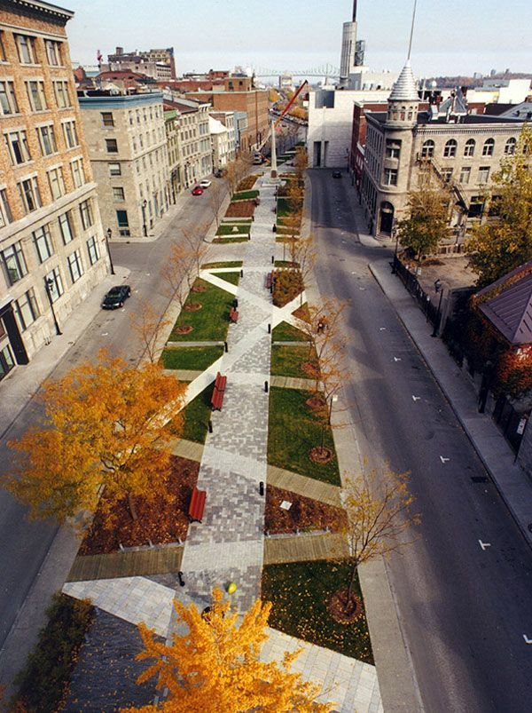 Place d'Youville is a place that used different paving patterns to reflect history for the people who live there. Its a great way to get the people to interact with the site.