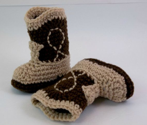 NEWBORN  Baby  Booties  Two Tone Brown Crochet Cowboy Boots